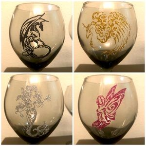 Mythical Creatures Wine Glasses Mermaid Unicorn